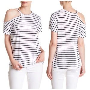 STATESIDE STRIPED OFF THE SHOULDER TEE SHIRT